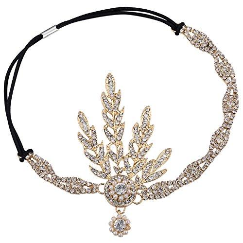 Babeyond® 1920s Stil Blatt-Medaillon Rundes Stirnband mit Perlen Inspiriert von Der Große Gatsby Accessoires für Damen (Gold)