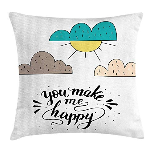 Kissenbezug Throw Pillow Cushion Cover, You Make Me Happy Calligraphy with Doodle Sun and Cloud Kids Cartoon Joyful Love, Decorative Square Accent Pillow Case,