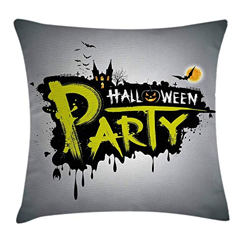 Halloween Throw Pillow Cushion Cover, Halloween Party Hand Drawn Brushstrokes Artistic Design Grunge Cartoon, Decorative Square Accent Pillow Case, 18 X 18 inches, Yellow White Black (Hello Kitty Halloween Cartoons)