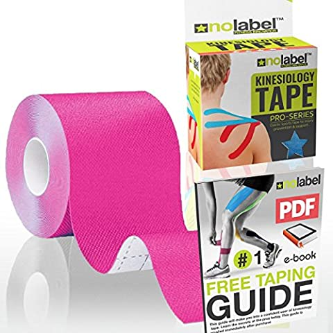Pink Kinesiology Tape - Uncut 5m Roll - No Label Pro Series Waterproof Sports Tape Helps Support Injuries and Muscle Soreness - Available in 4 Colours (Pink, 1 Box)