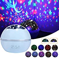 Star Night Light Projector, Romantic Rotating Sea Animals Star Moon Cover Projector Colorful Night Lamp for Baby Kids Adults Bedroom, Birthday, Nursery Light
