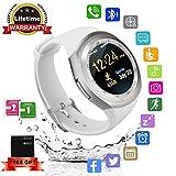 Montre Connectée, Bluetooth smartwatch Rond Etanche avec SIM/TF Carte Ecran Tactile...