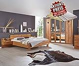 lifestyle4living Schlafzimmer, Schlafzimmermöbel, Set, Schlafzimmereinrichtung, 4-teilig, Drehtürenschrank, Bett, Nachtschrank, Erle, teilmassiv, 180x200