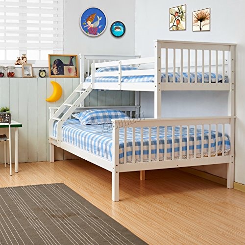 FoxHunter Bunk Bed Wooden Frame Children Triple Sleeper No Mattress White Single Top Double Base Furniture New