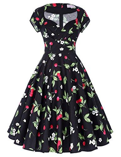 Belle Poque Damen Vintage Retro 1950er Kleid Festliche Kleid Partykleid Farbe1