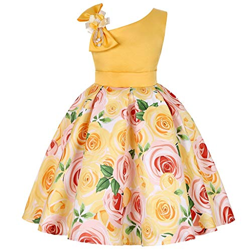 Prinzessin Kleid Tüll Mädchen Pwtchenty Sleeveless Schultergurt Blumen Bogen Kleid Lang Damen Rock Dresses for Women Party Elegant Long Summer Kleider Für Baby Kleinkinder
