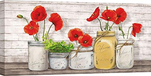 Art Print Cafe - Kunstdruck auf Leinwand - Blumen - Jenny Thomlinson, Blumen in Mason Jars - 100x50 cm (Blumen In Mason Jars)