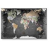 LANA KK Weltkarte Glasbild edler Kunstdruck hinter 4 mm starkem geschliffenem Glas, graphit, 120 x 80 x 4 cm