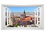 3D Wandmotiv Hannover Skyline Fenster Bildfoto Wandbild Stadt selbstklebend Wandtattoo Wohnzimmer Wand Aufkleber 11E325, Wandbild Größe E:ca. 168cmx98cm