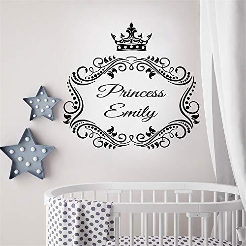 Wandtattoo Wohnzimmer Mädchen Raum Dekor Prinzessin benutzerdefinierten Namen Kindergarten Prinzessin Krone Wand Kunst Aufkleber für Kinder Kinder Schlafzimmer Mädchen Schlafzimmer (Mädchen-raum-dekor Disney)