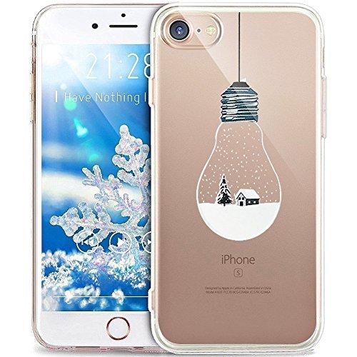 SevenPanda für iPhone 6S Hülle, Winter Weihnachtsserie Liquid Crystal Muster Clear TPU Silikon Handyhülle Snow Design Transparent Motiv Schutzhülle für iPhone 6 Case Cover - Glühbirne