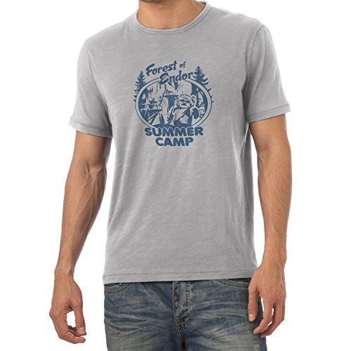 NERDO - Forest of Endor Summer Camp - Herren T-Shirt, Größe L, grau meliert (Herren-retro-camp-shirt)