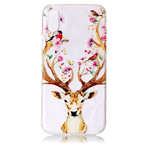 iPhone X Hülle, Voguecase Silikon Schutzhülle / Case / Cover / Hülle / TPU Gel Skin für Apple iPhone X(Pflaumen/Hirsch 04) + Gratis Universal Eingabestift Pflaumen/Hirsch 04