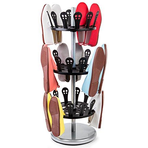 Tatkraft Roll Zapatero Giratorio Soporte Calzado Organizador Carrusel Acero Y Plastico L31X Alt 86X Anch 31 Centimeters