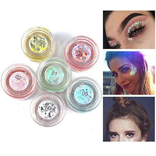 Weicici 6 Pack Bunte Glitter Gel Kit für Augen, Lippen, Gesicht, Körper, Haar dekorative Festival Glitter Gel Party verwenden