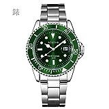 AAOAA Reloj para Hombre Cronógrafo para Hombres Deluxe Impermeable Calendario de la Fecha A Granel Oro Reloj de Acero Inoxidable Vestido Deportivo para Hombres Multifunción Analógico Cuarzo,Green