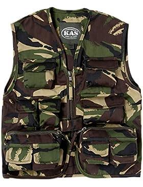 Niños Ejército Camuflaje Multi bolsillo chaleco camuflaje–se adapta a partir de 3–14años