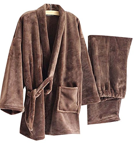 Herren Kimono Pyjamas Warm Flanell Khan Gedämpft Kleidung, Braun (Herren Flanell Pjs)