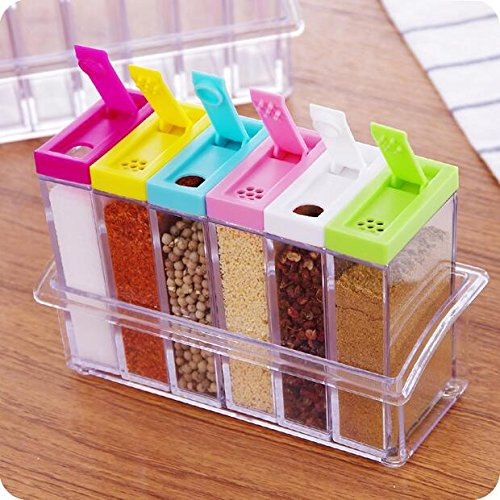 DFS's Crystal SEASONING BOX SEASONING SET PEPPER SALT SPICE RACK Plastic 6 Masala Box Kitchen See Through Storage Containers