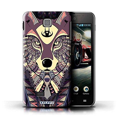 Kobalt® Imprimé Etui / Coque pour LG Optimus F5/P875 / Loup-Vert conception / Série Motif Animaux Aztec Loup-Cramoisi