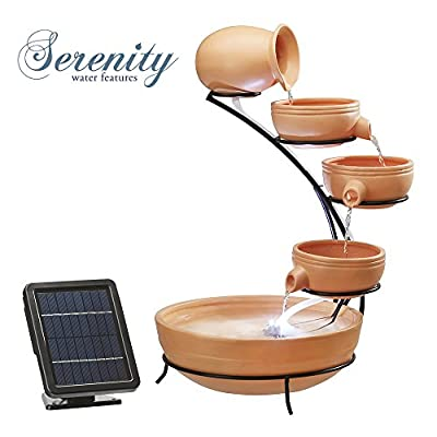 Durable 5 Tier Solar Powered Cascade Water Feature with LED Lights for Outdoor Use