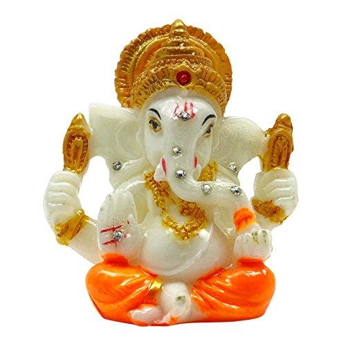 Indianbeautifulart Poly Marble Lord Ganesha Statue Büro-Tabellen-Dekor-Auto-Armaturenbrett Religiöse