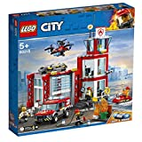 LEGO 60215 City Fire Station Building Set, Fire Toy Truck Water Scooter and Drone, Firefighter Toys for Kids