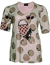a791d9fc94d7 Sempre Piu by Chalou Damen Lagenlook Sommer T-Shirt Beige Sand xxl Marken  Shirt Tunika