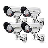 Unechte Überwachungskamera falsch künstlich CCTV Sicherheitsüberwachungskamera Outdoor mit roter LED (Silber)