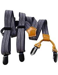 Lawevan las mujeres y los hombres pantalones de los apoyos Supenders con negro y blanco de la raya cattlehide apoyos de cuero