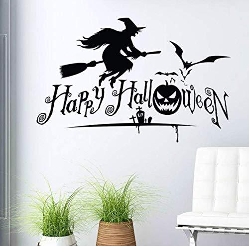 mbare 3D Wandaufkleber Halloween Hexe Decor Decals Schaufenster Tür Dekoration Wandbilder Vintage Poster ()