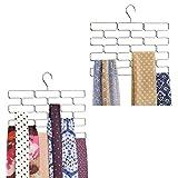 MetroDecor mDesign 2er-Set Schalbügel – platzsparender Schalhalter für den Kleiderschrank – hängender Schalorganizer mit 18 Fächern – silberfarben