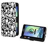 deinPhone Samsung Galaxy S5 Mini Kunstleder Flip Case Totenkopf Rote Augen