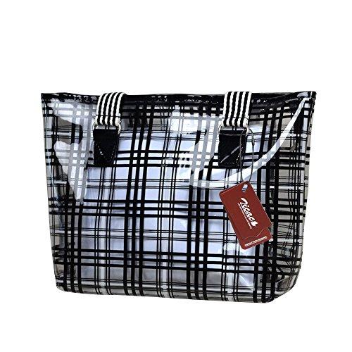 Zicac Damen Handtaschen Karo Muster Einkaufstasche PVC Handtaschen mit kleinen Kosmetiktasche (schwarz)