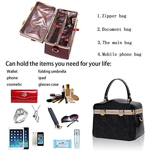 Sunas Portafoglio trasparente del sacchetto di spalla del sacchetto di spalla del messaggero di cuoio di vernice di fotoricettore delle borse delle donne eleganti di modo nero