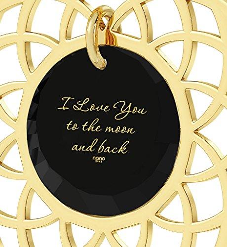 Pendentif Mandala - Bijoux Romantique plaqué Or avec I Love You To The Moon and Back inscrit en Or 24ct sur un Zircon Cubique Rond, Chaine en Or Laminé 45cm - Bijoux Nano Noir