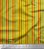 Soimoi Gelb Satin Seide Stoff vertikal Streifen gedruckt