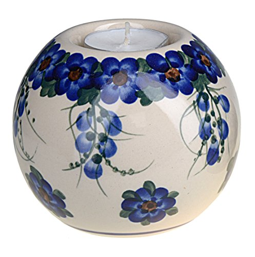 Classic Boleslawiec, Polish Pottery, Hand Painted Ceramic Ball, Tea Lite Candle Holder 503-u-001