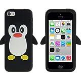 Coque silicone cartoon Pingouin pour iphone 5C noire