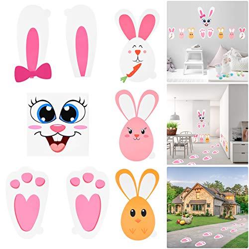 Amosfun Osterhase druckt Aufkleber Bunny Paw Set mit Ei Bunny Gesicht Aufkleber Kids Party Favors Kinder Garten Ei Jagd Spiel