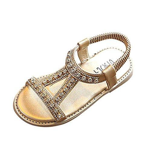 Sandali romani bambino- per bambine e ragazze-sandali con cinturino alla caviglia-sandali di cristallo scarpe principessa romana-da spiaggia cerniera in pelle scarpe 20-29 (oro, eu:28)