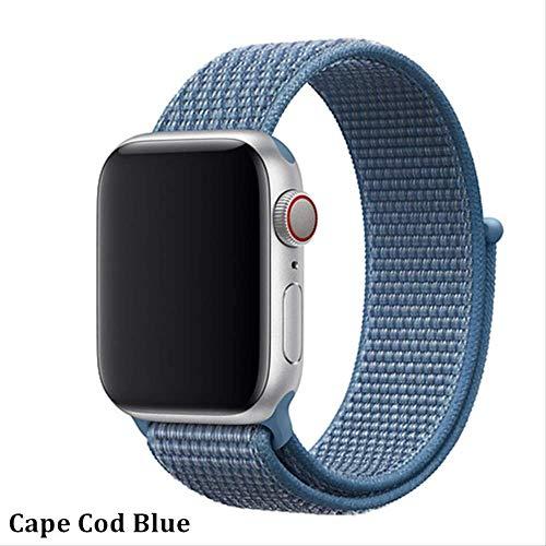 44mm 40mm 42mm 38mm geflochten Nylon Strap Armband Armband für Apple Watch 4 3 2 1 Serie 38mm oder 40mm Cape Kabeljau blau