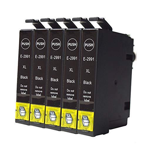 Ouguan, cartucce compatibili Epson 29XL 29, per stampanti Epson Expression Home XP-255 XP-257 XP-352 XP-355 XP-452 XP-455 XP-235 XP-332 XP-335 XP-432 XP-435 Pack de 5 Noir Nero