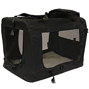 Mool Lightweight Fabric Pet Carrier Crate with Fleece Mat and Food Bag - Medium (60 x 42 x 42 cm), Black