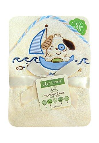 BOBOBABY Baby Jungen Badetuch mit Kapuze 100x100cm 100% Baumwolle Ekri-Blau-Hund (EKO-D)