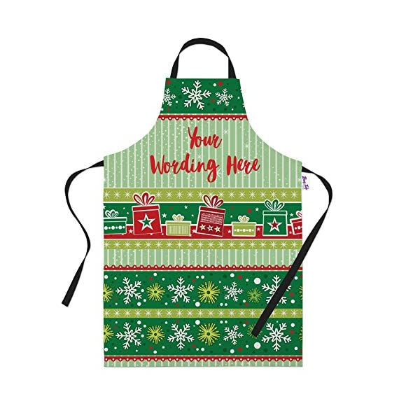 Personalised Green Stripe Pattern Christmas Apron for Women & Men - Add your own Text