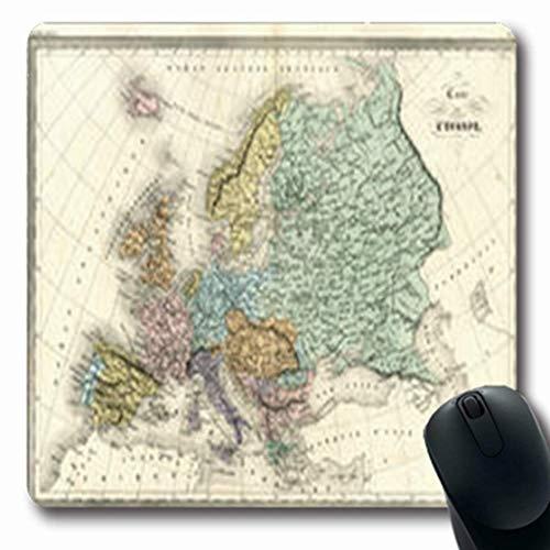 Gsgdae Mauspad Norwegen Antik Karte Europa Vintage Spanien Italien Alt Frankreich Deutschland Längliche Form 7,9 x 9,5 Zoll Rechteckig Gaming Mauspad Anti-Rutsch Gummi Computer Notebook -