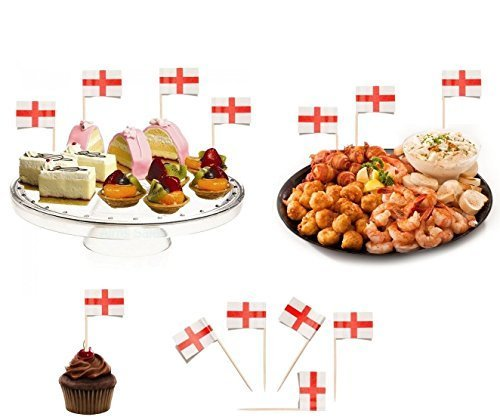 100 St George Sandwich Party Flag Food Cup Cake Cheese Cocktail Stick Picks England Football Sports Buffet Decoration Labels by (Picks Cupcake Uk Halloween)