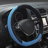 XuanMax Universal Funda Cubierta del Volante PU Cuero Respirable Antideslizante Vehiculo Auto Coche PU Leather Steering Wheel Cover 38cm - Azul