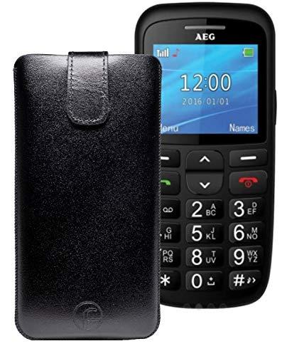 Favory ECHT Ledertasche Leder Etui AEG Voxtel SM315 Tasche (Lasche mit Rückzugfunktion) schwarz